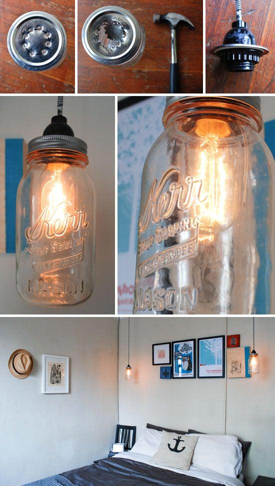 Lámparas recicladas con tarros
